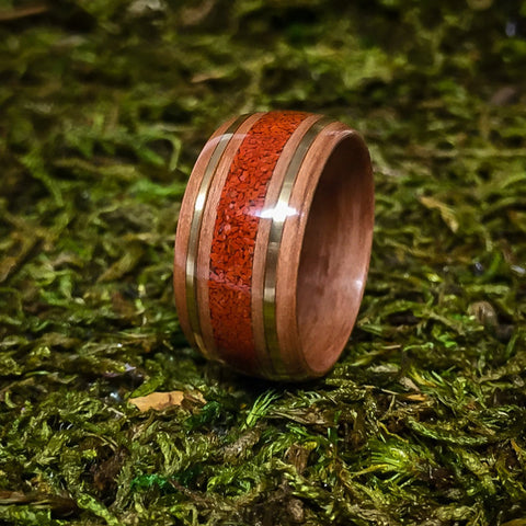 Swiss Pearwood Bentwood ring filled with Red Jasper