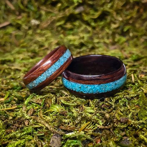 Rosewood and Turquoise Bentwood Ring
