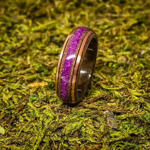 Walnut Burl Bentwood Ring with Lab Created Sugilite inlay