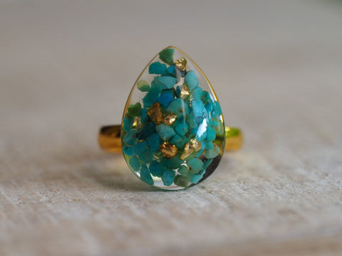 Turquoise resin gold ring