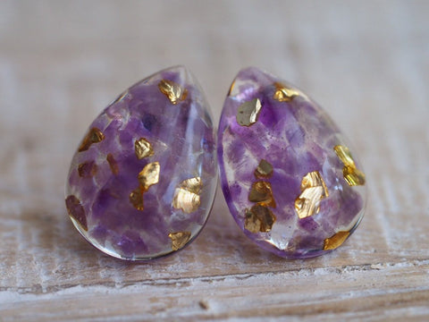Amethyst Gold Leaf Teardrop earrings