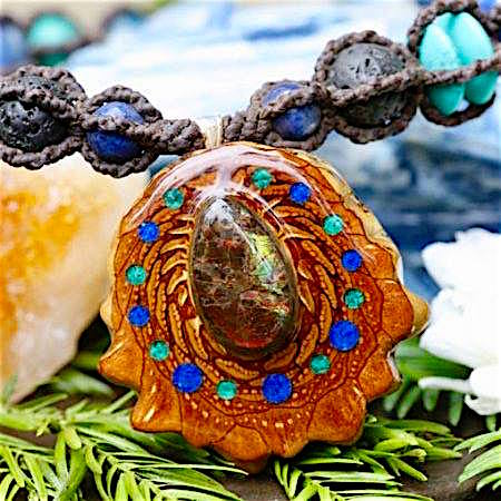 Third Eye Pinecones Lapis Malachite Pendant