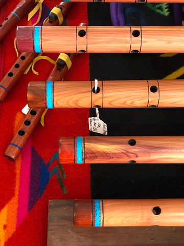 Native American Flutes with Sleeping Beauty Turquoise inlay