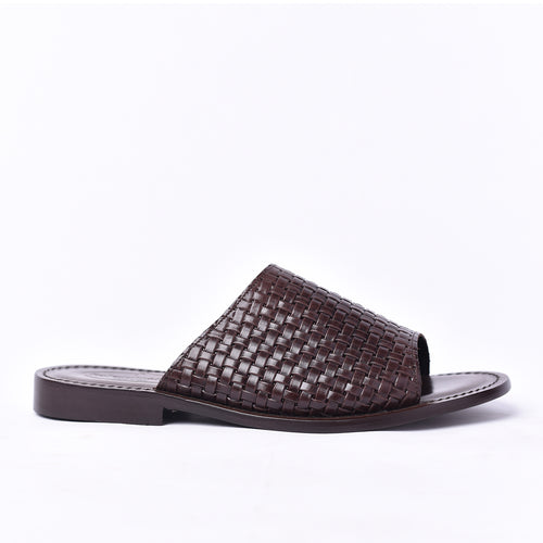 Brown Weaved Slippers