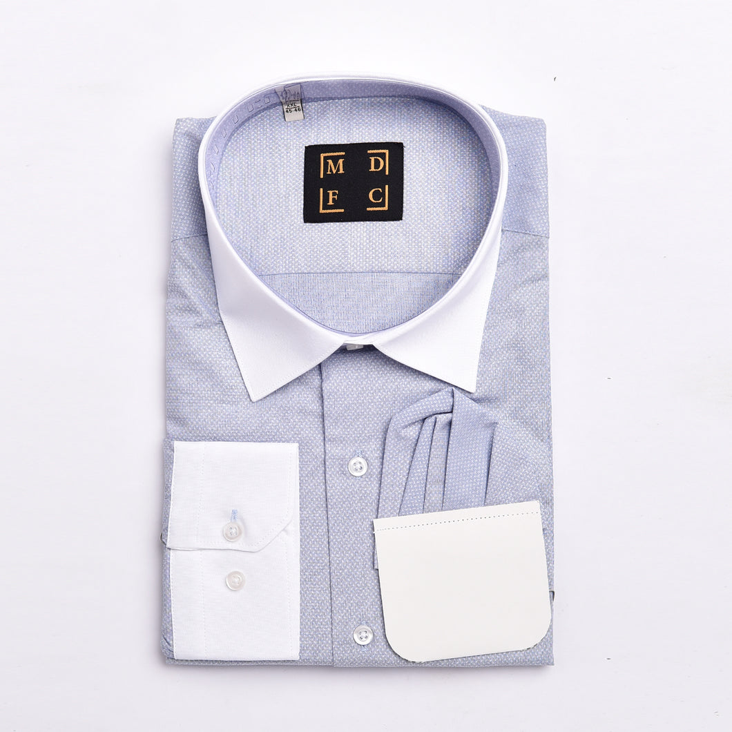 Sky Blue Shirt with White Threadwork and Constrast Collar and Cuffs