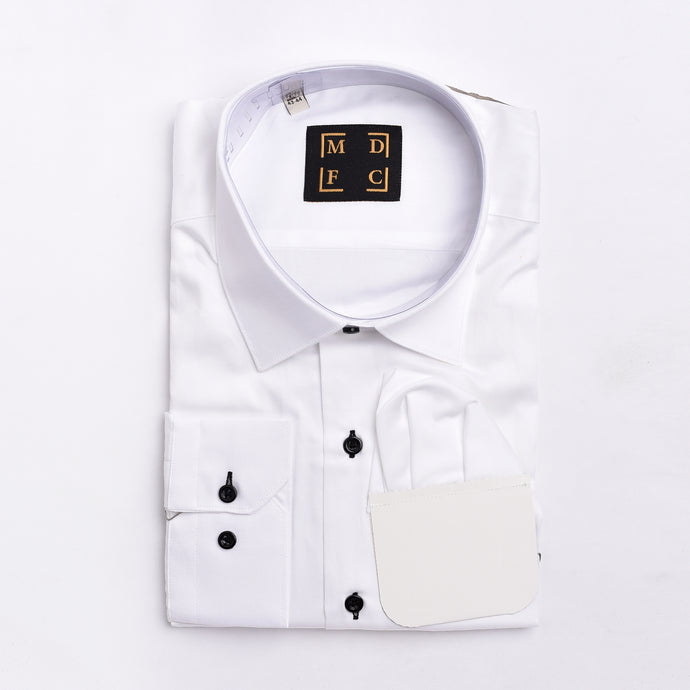 White Satin Cotton Shirt with black button