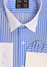 Load image into Gallery viewer, Blue Striped Shirt With Constract Collar and Cuffs plus Free Pocket Square