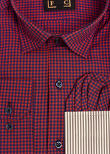 Load image into Gallery viewer, Red Blue Checked Shirt with Free Pocket Square