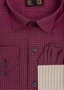 Red Blue Checked Shirt with Free Pocket Square