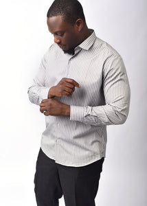 Grey Striped Long  Sleeve  Shirt with Free Pocket Square