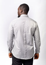 Load image into Gallery viewer, Grey Striped Long  Sleeve  Shirt with Free Pocket Square