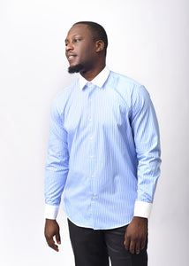 Blue Striped Shirt With Constract Collar and Cuffs plus Free Pocket Square