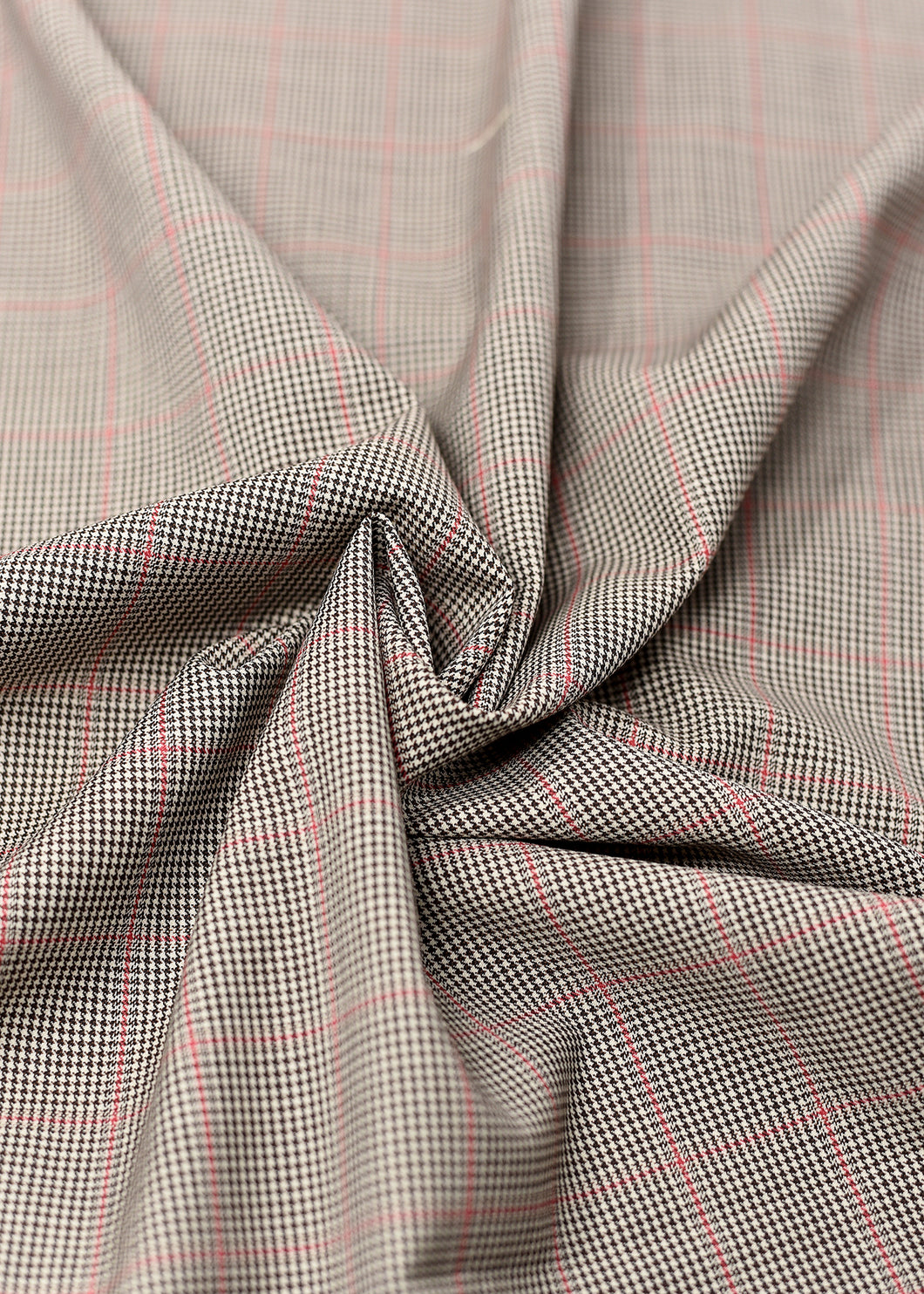 Brown Black/Red Checked Cashmere 220 (N6,000 Per Yard)