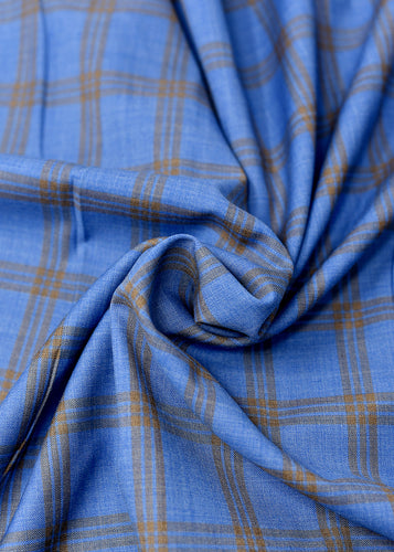 Sky Blue Brown Checked Cashmere 220 (N6,000 Per Yard )