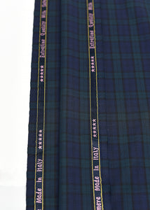 Navy Blue Green Checked Cashmere 220