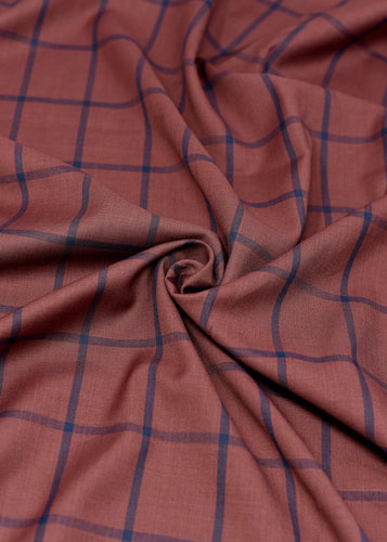 Rosy Brown Blue Thick Striped Cashmere 180 (N5,000 Per Yard)