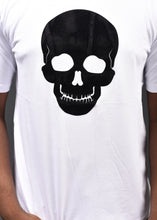 Load image into Gallery viewer, Black Skull on White T -Shirt