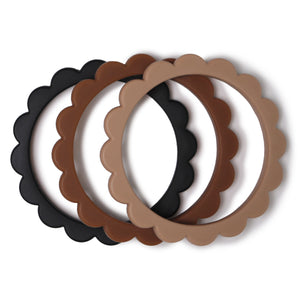 Flower Teething Bracelet 3-Pack (Black/Natural/Caramel)