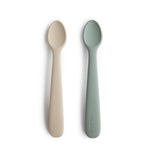 Silicone Feeding Spoons (Cambridge Blue/Shifting Sand) 2-Pack