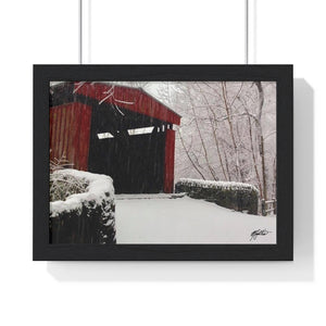 Winter Covered Bridge Framed Print- Various Sizes
