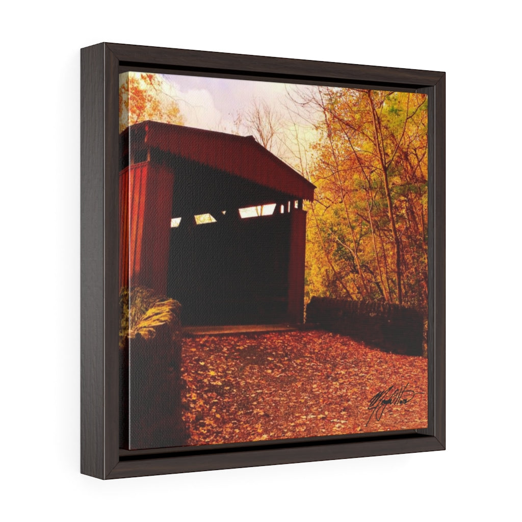 Autumn Covered Bridge Square Framed Canvas - Various Sizes