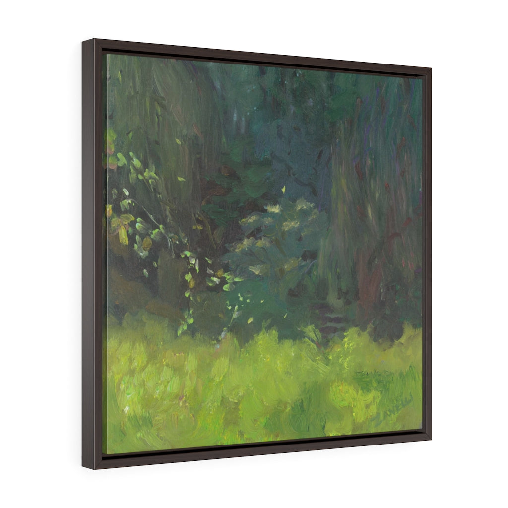 Field of Green Square Framed Canvas - Various Sizes