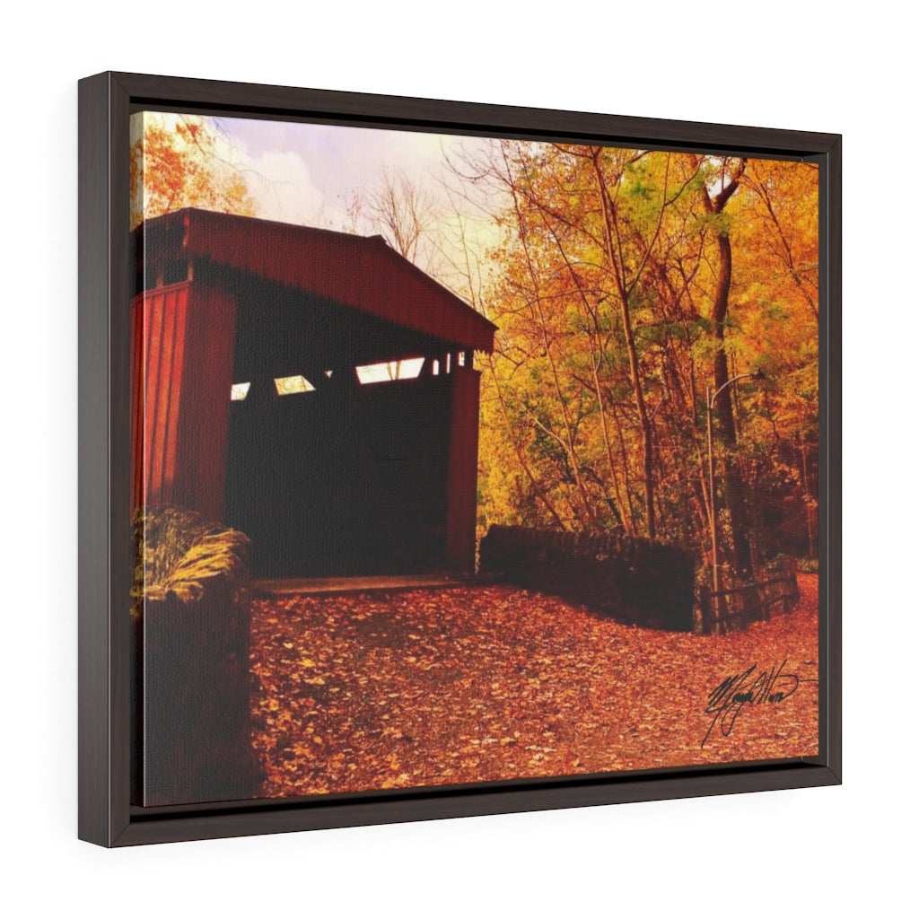 Autumn Covered Bridge Framed Canvas - Various Sizes