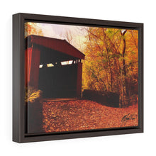 Load image into Gallery viewer, Autumn Covered Bridge Framed Canvas - Various Sizes