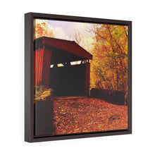 Load image into Gallery viewer, Autumn Covered Bridge Square Framed Canvas - Various Sizes
