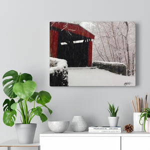 Winter Covered Bridge Canvas - Various Sizes