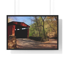 Load image into Gallery viewer, Spring Covered Bridge Framed Print- Various Sizes