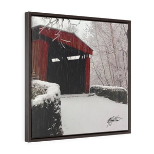 Winter Covered Bridge Square Framed Canvas - Various Sizes