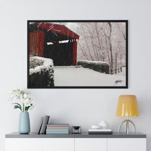 Load image into Gallery viewer, Winter Covered Bridge Framed Print- Various Sizes