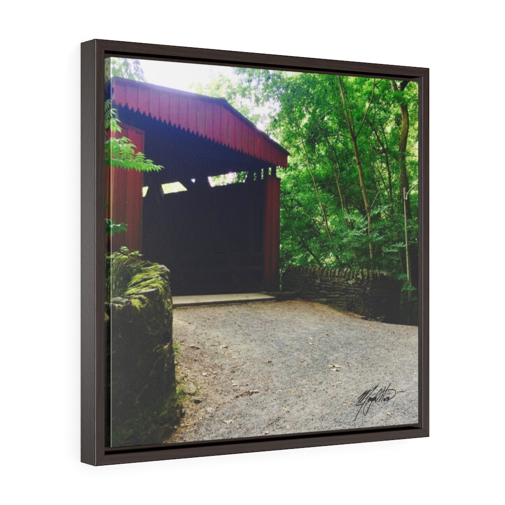 Summer Covered Bridge Square Framed Canvas - Various Sizes