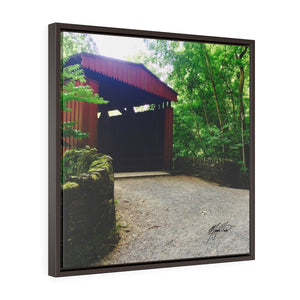Spring Covered Bridge Square Framed Canvas - Various Sizes