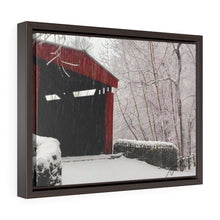 Load image into Gallery viewer, Winter Covered Bridge Framed Canvas - Various Sizes
