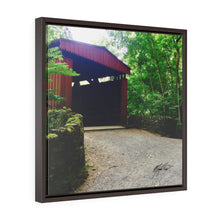 Load image into Gallery viewer, Spring Covered Bridge Square Framed Canvas - Various Sizes