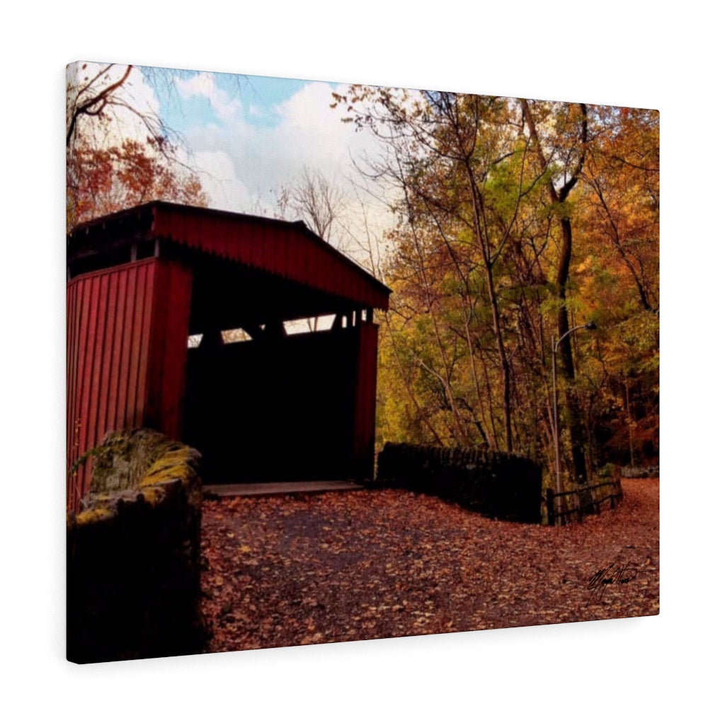 Fall Covered Bridge Canvas - Various Sizes
