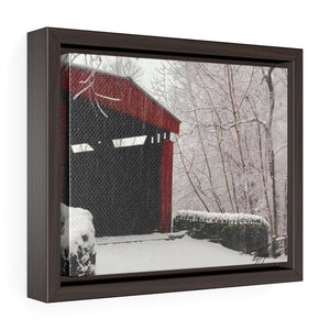 Winter Covered Bridge Framed Canvas - Various Sizes