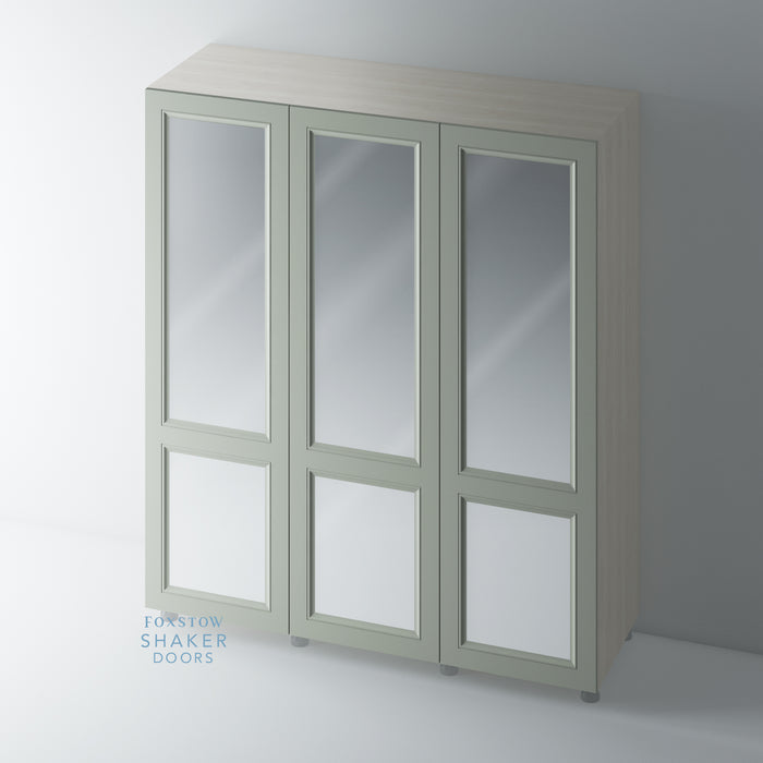 Painted, 2 Panel Mirrored Shaker Wardrobe Door with OGEE Mouldings