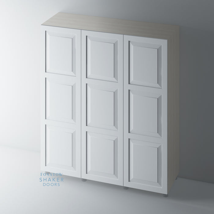 Primed, 3 Panel Raised Panel Shaker Wardrobe Door