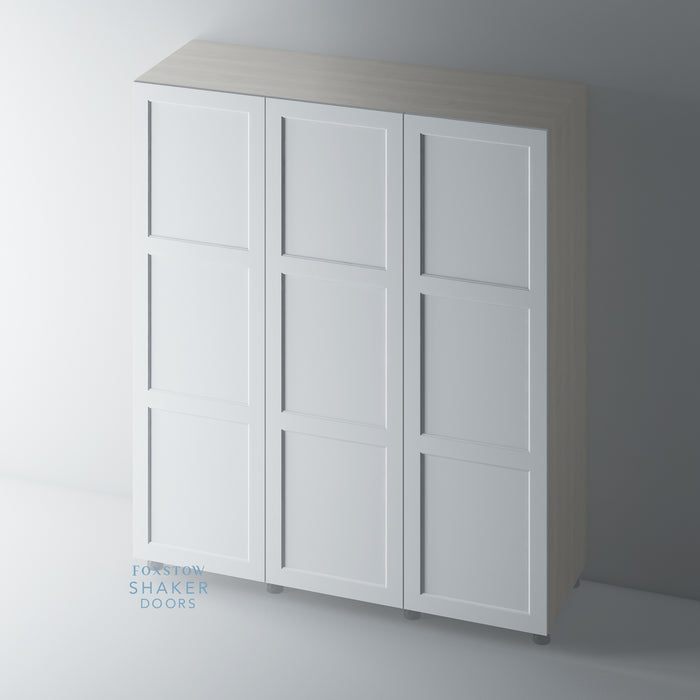 Primed 3 Panel Shaker Wardrobe Door with Ovolo Moulding for IKEA PAX