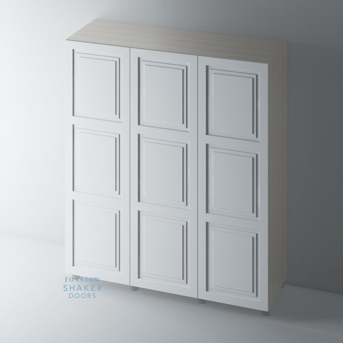 Primed 3 Panel Shaker Stepped Panel Wardrobe Doors for IKEA PAX