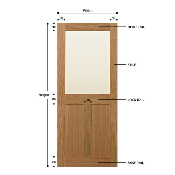 Top Half Glazed 2/3 Panel Oak Shaker Door