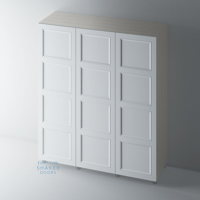 Primed 4 Panel Shaker Ogee Wardrobe for IKEA PAX