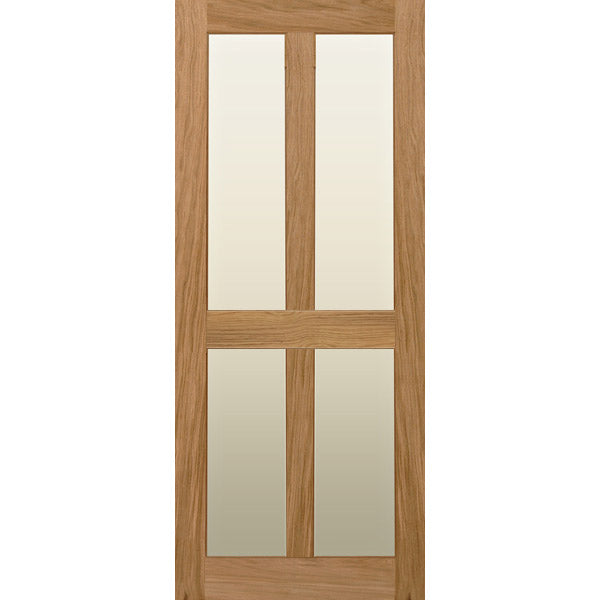 Solid Oak with glazed 4 panel internal door