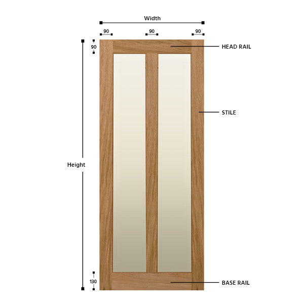 Glazed 2 Vertical Panel Oak Shaker Door