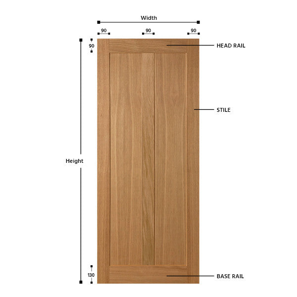 2 Vertical Panel Oak Shaker Door