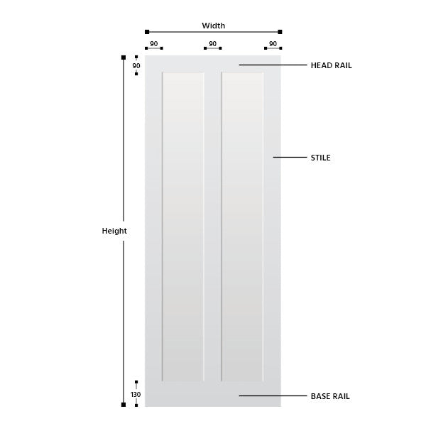 2 Panel Vertical Primed MDF Shaker Door
