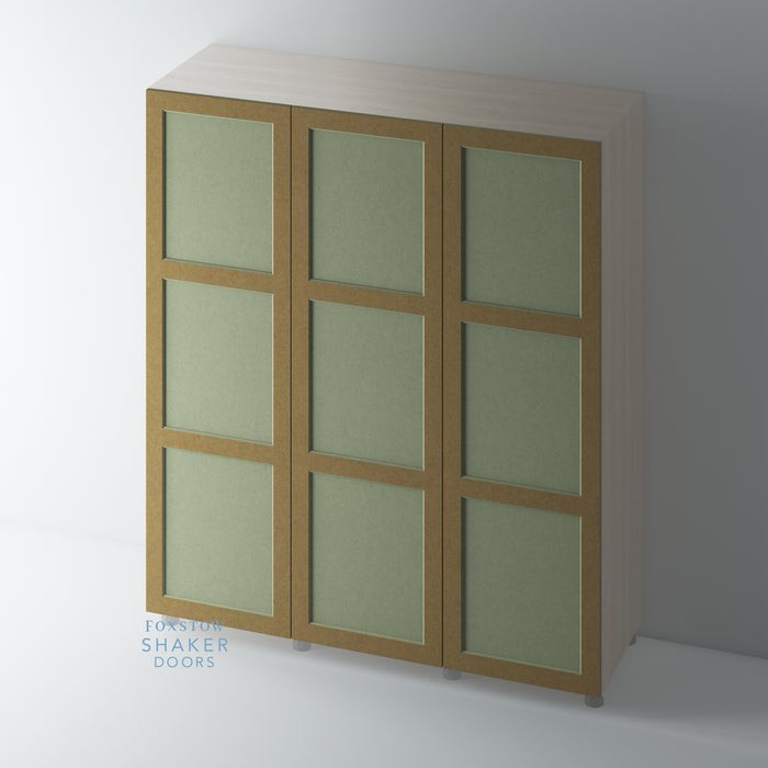 Bare, 3 Panel Shaker Wardrobe Door with OVOLO Mouldings